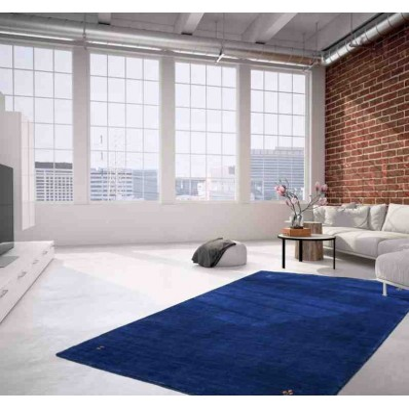 tappeto moderno tinta unita belize belmopan blu lana