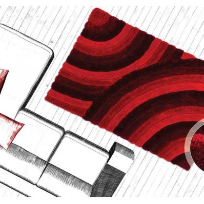 tappeto moderno geometrico canada ottawa rosso