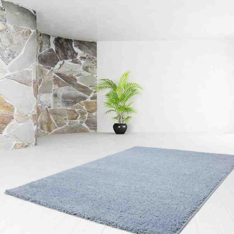 tappeto moderno tinta unita comfy 100 chiaro blu
