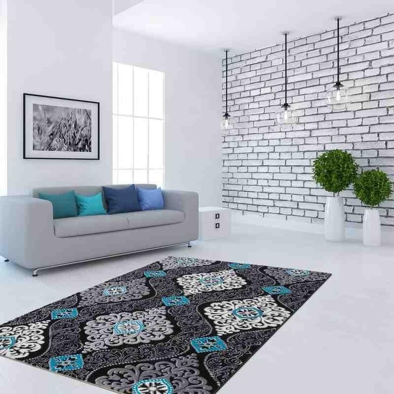 tappeto moderno fantasia denmark billund nero-turchese