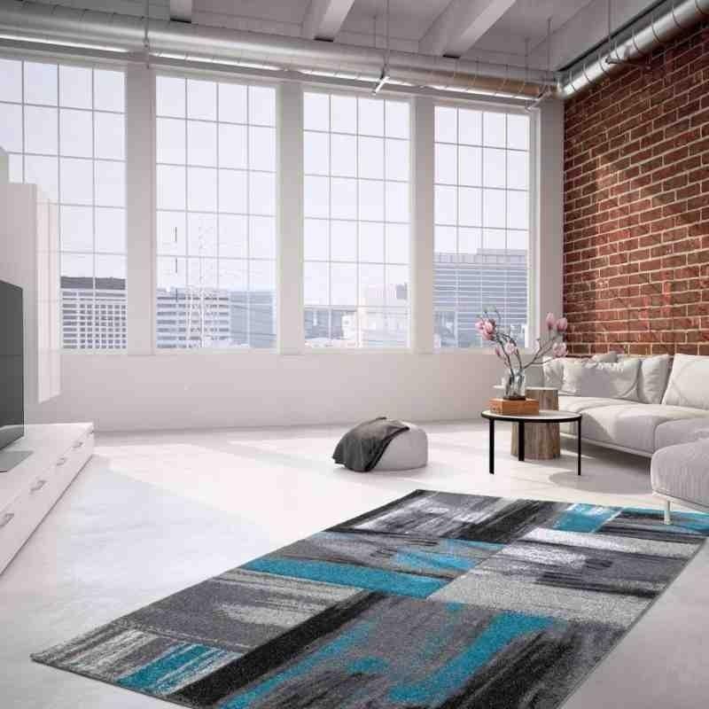 tappeto moderno fantasia dominica roseau blu