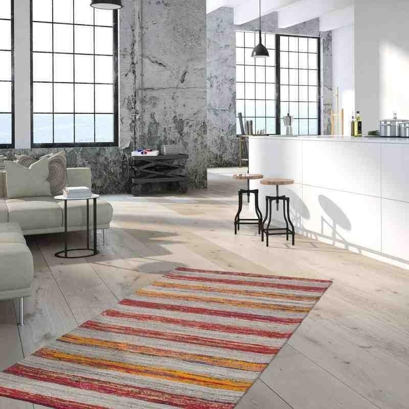 tappeto moderno geometrico duarte 210 nature-rosso lana