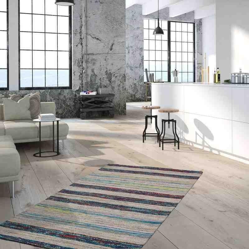 tappeto moderno geometrico duarte 210 nature-blu lana
