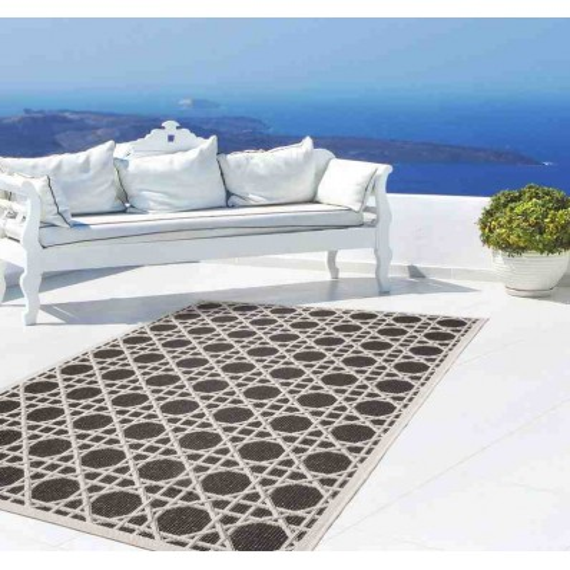 tappeto moderno geometrico equator 320 nero-avorio
