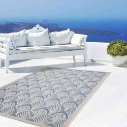 tappeto moderno geometrico equator 380 blu-avorio