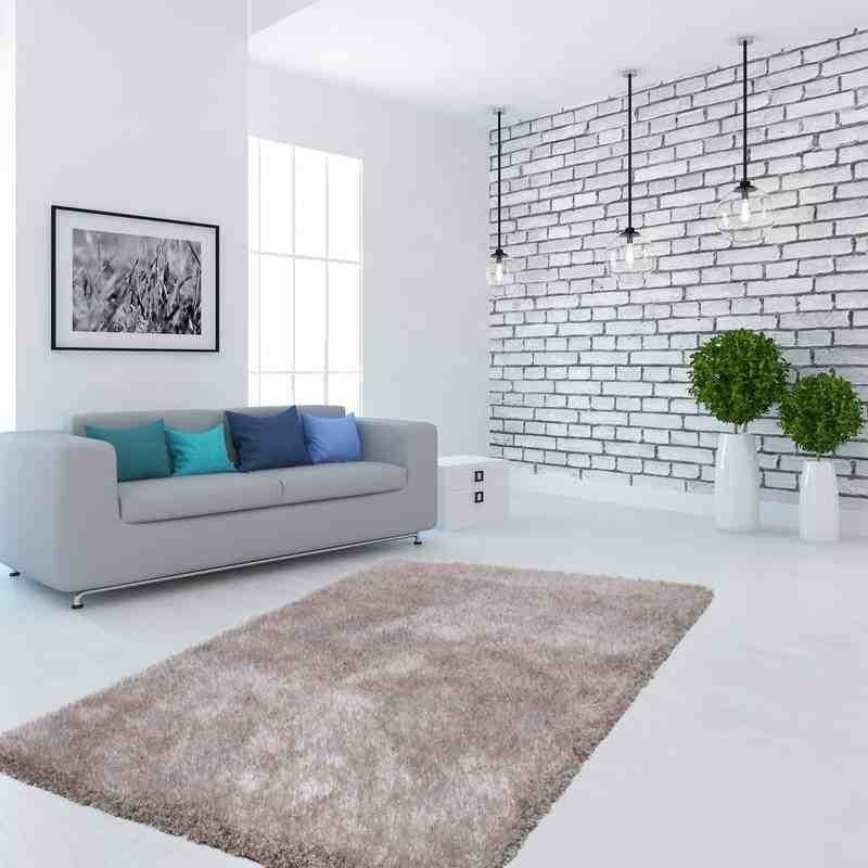 tappeto moderno tinta unita flash! 500 argento-bianco