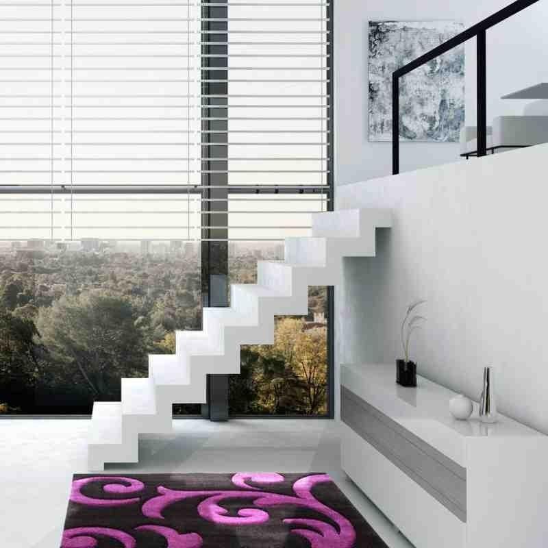 tappeto moderno floreale france paris nero-violetto