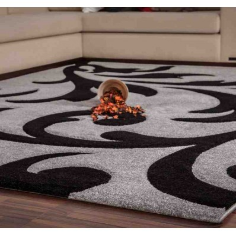 tappeto moderno floreale france paris argento-nero