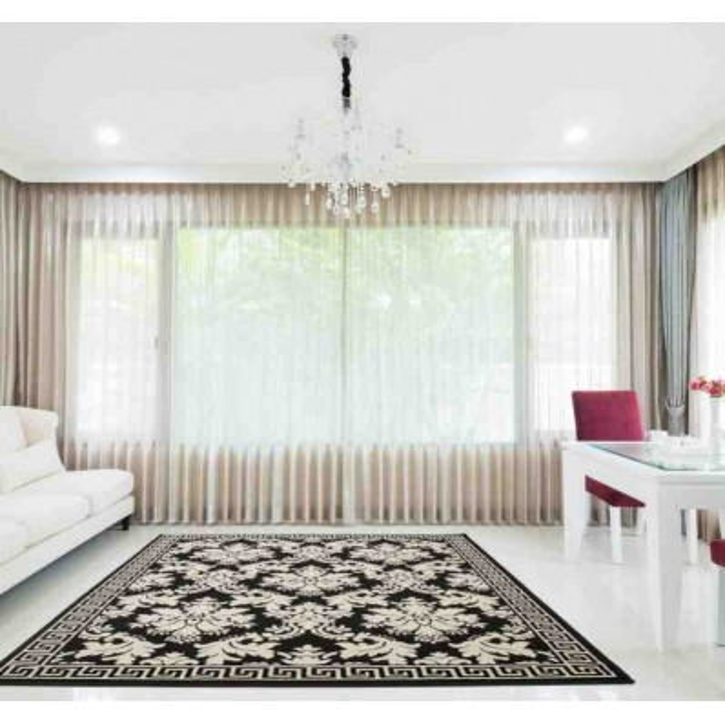 tappeto moderno floreale funky 1068 crema-nero