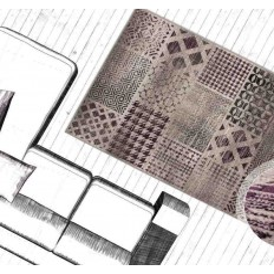 tappeto moderno patchwork funky 2029 argento