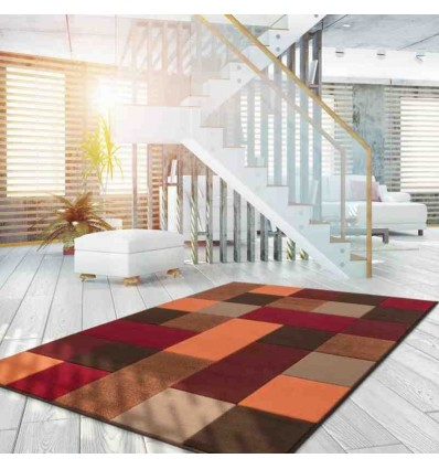 tappeto moderno patchwork funky 2034 rosso