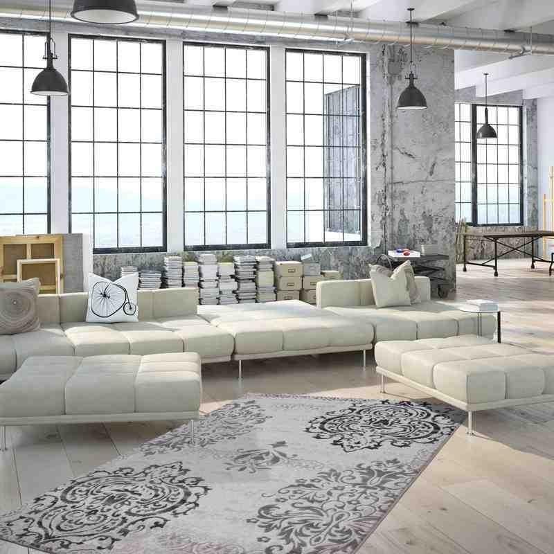 tappeto moderno floreale greece agia argento