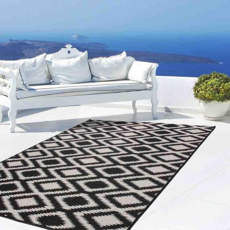 tappeto moderno geometrico indonesia bengkulu nero-bianco