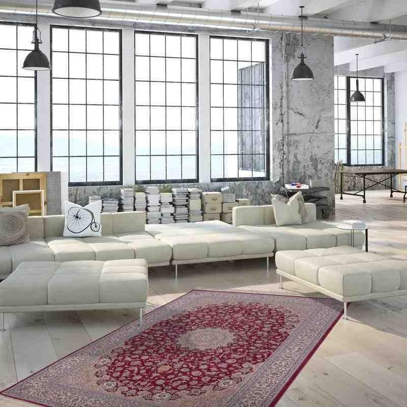 tappeto moderno classico jordan amman rosso