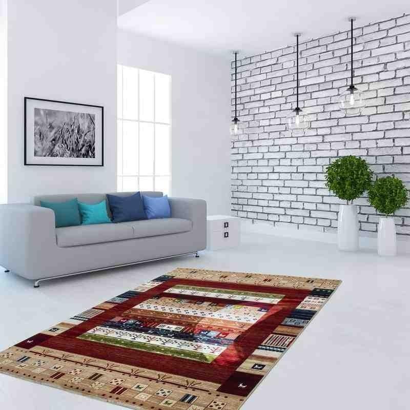 tappeto moderno geometrico kurdistan multi-rosso
