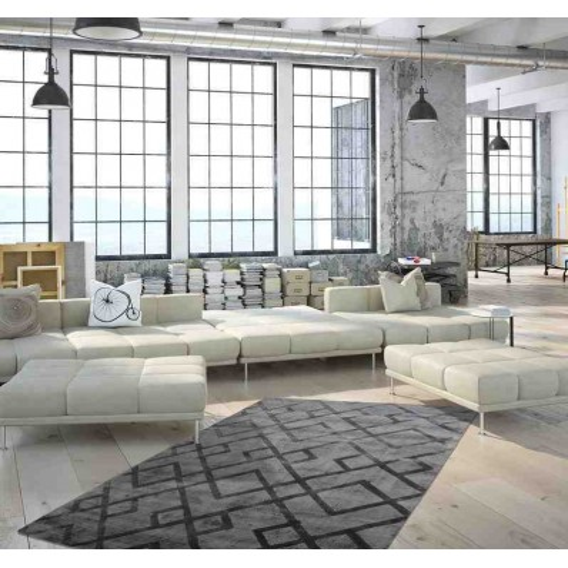 tappeto moderno geometrico luxury 310 grigio-antracite seta