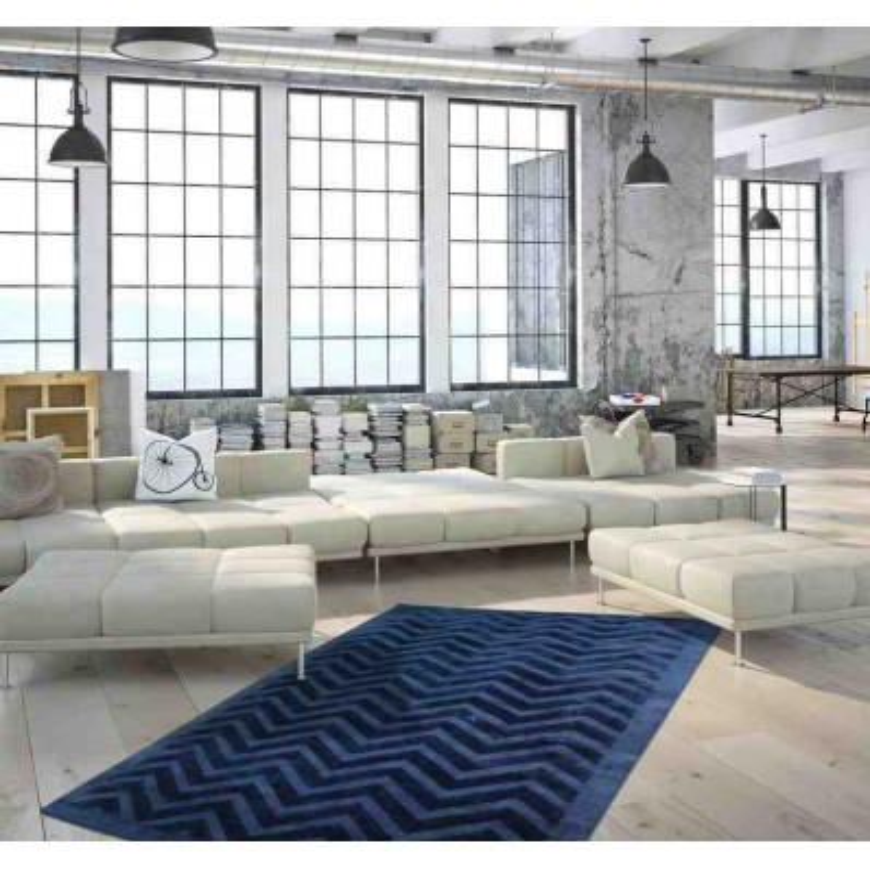 tappeto moderno geometrico luxury 410 blu marino seta