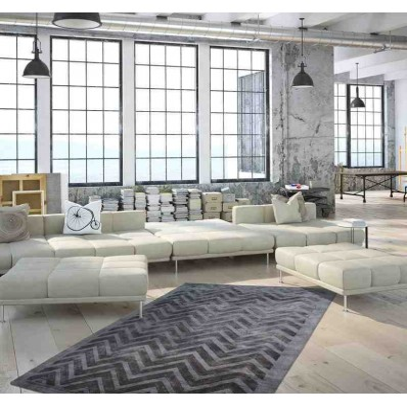 tappeto moderno geometrico luxury 410 grigio-antracite seta