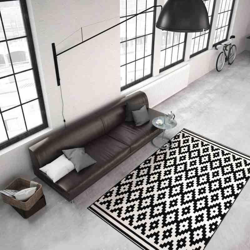 tappeto moderno geometrico malaysia miri nero-bianco