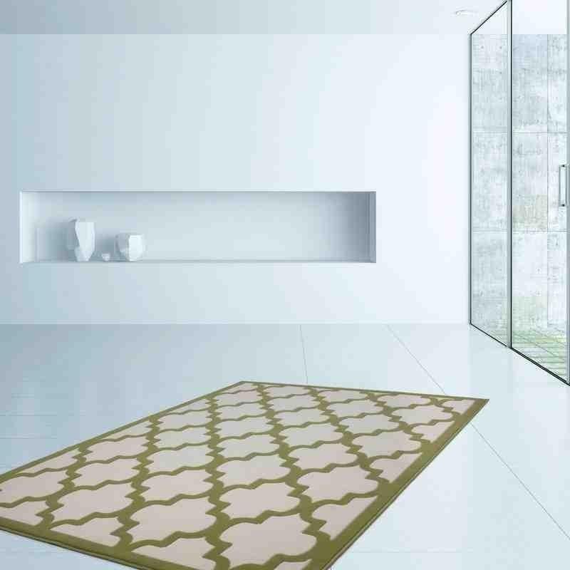 tappeto moderno geometrico marocc avorio-verde