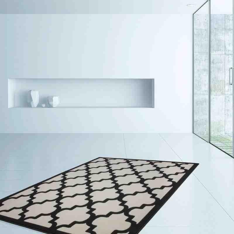 tappeto moderno geometrico marocc avorio-nero