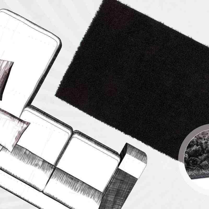 tappeto moderno tinta unita norway oslo nero
