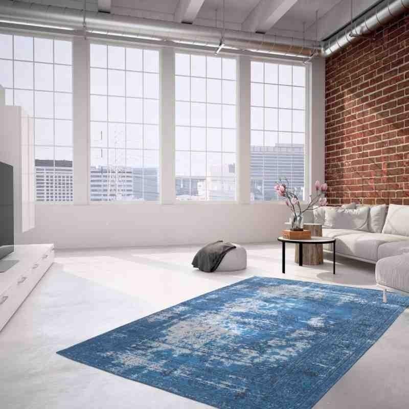 tappeto moderno vintage nostalgia 385 blu