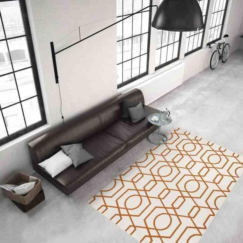 tappeto moderno geometrico now! 400 avorio-arancio