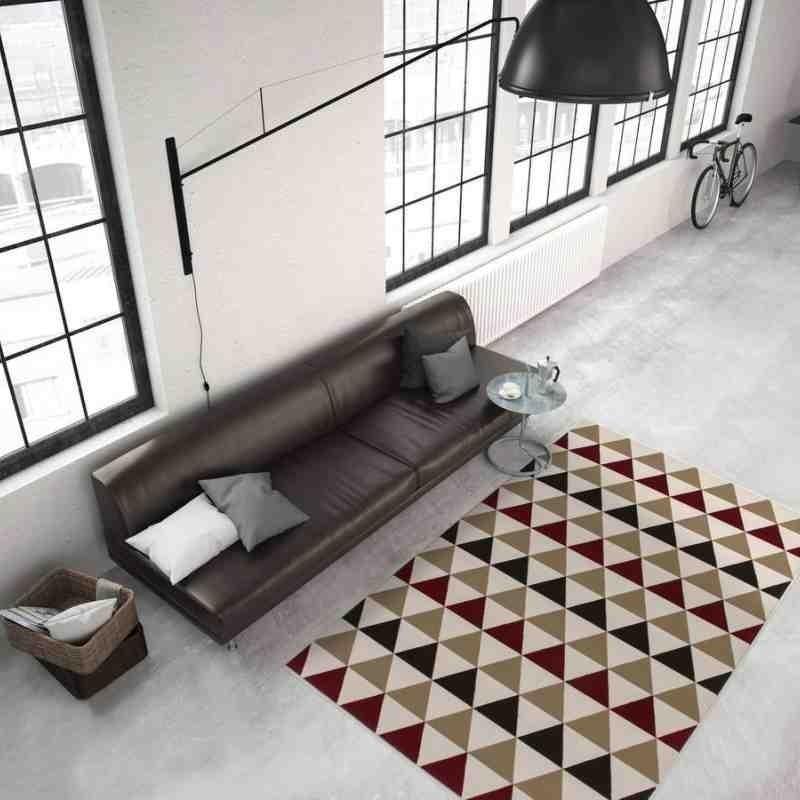 tappeto moderno geometrico now! 800 rosso-marrone
