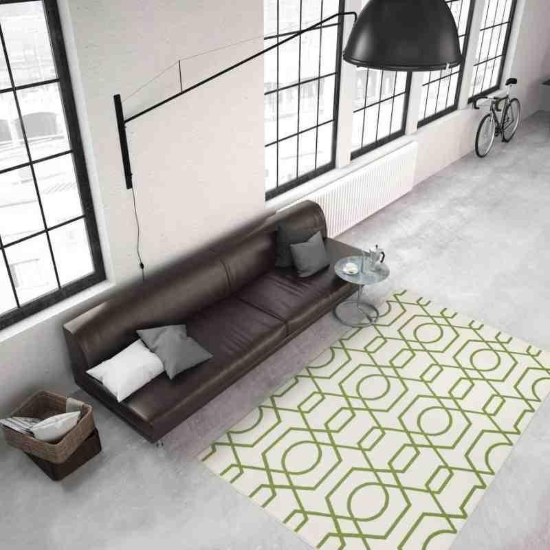 tappeto moderno geometrico now! 400 avorio-verde