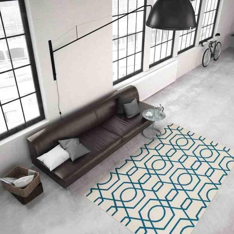 tappeto moderno geometrico now! 400 avorio-turchese