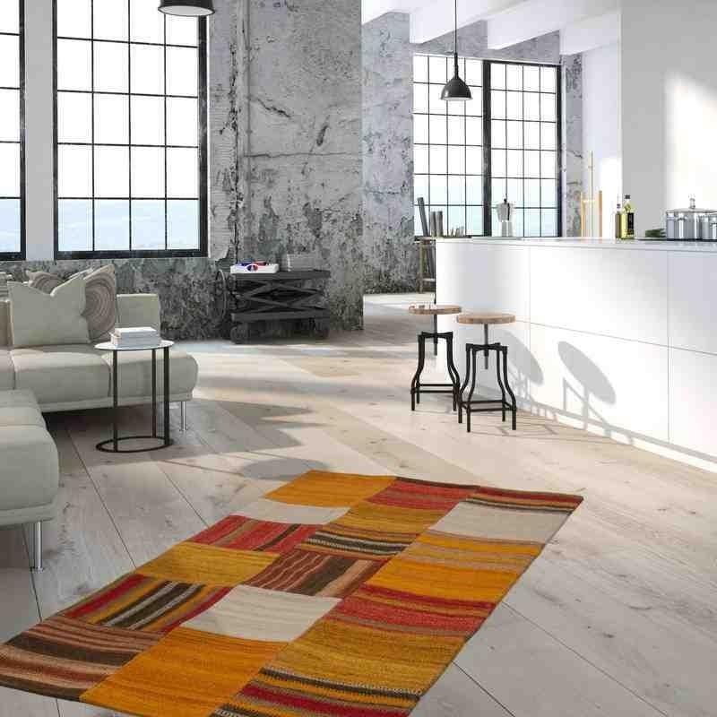 tappeto moderno patchwork radical 210 terra-multi lana