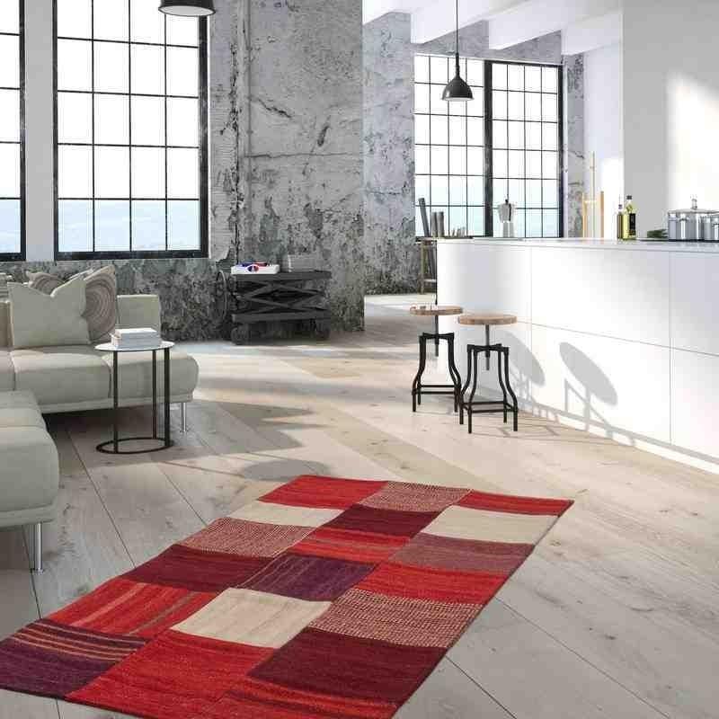 tappeto moderno patchwork radical 230 rosso-multi lana