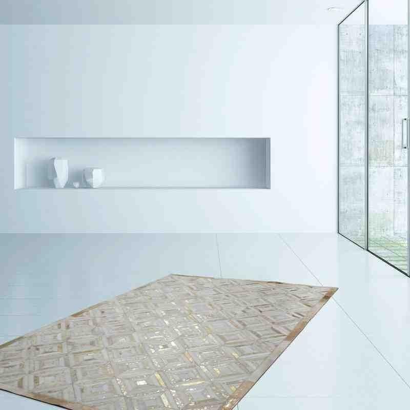 tappeto moderno tinta unita spark 410 avorio-oro