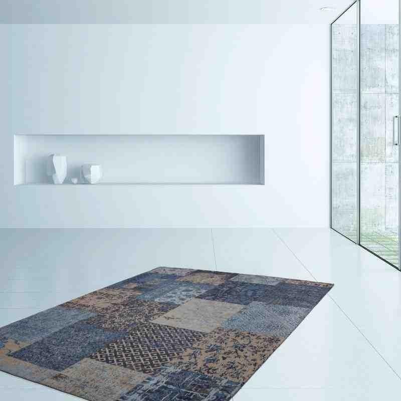 tappeto moderno patchwork symphony 160 blu