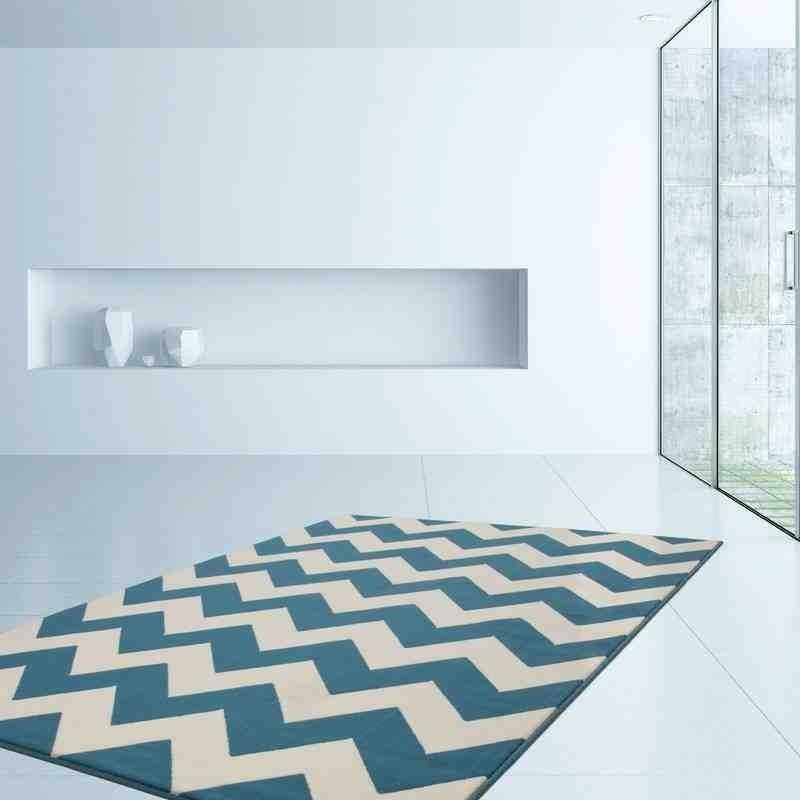 tappeto moderno geometrico zigzag turchese