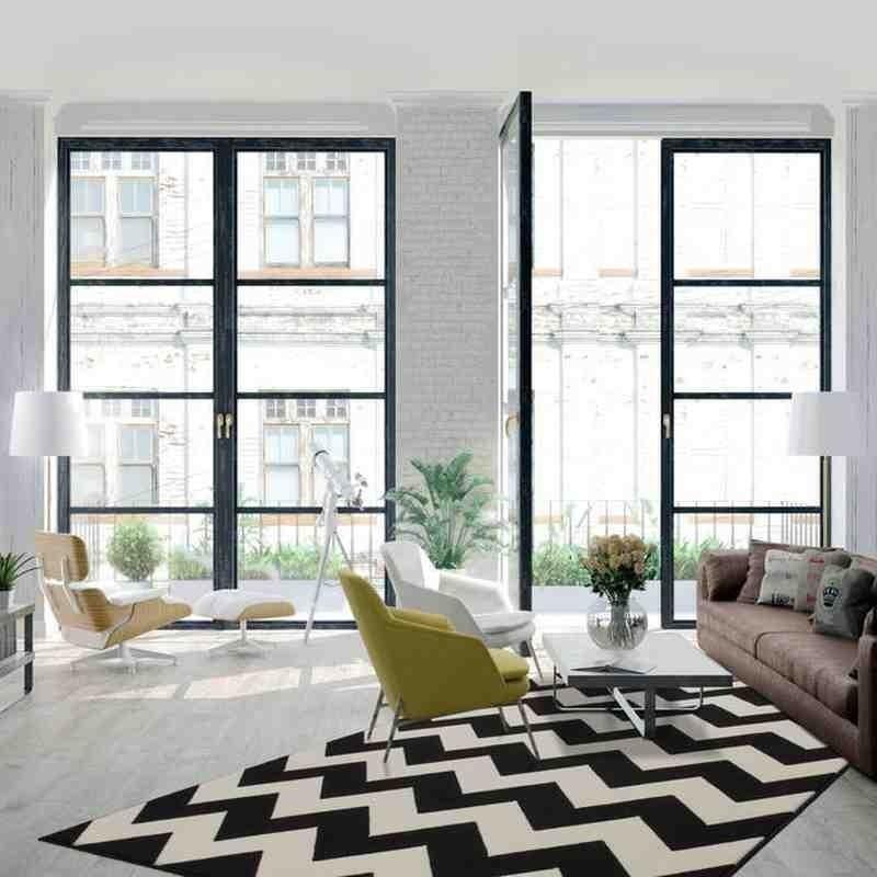 tappeto moderno geometrico zigzag nero
