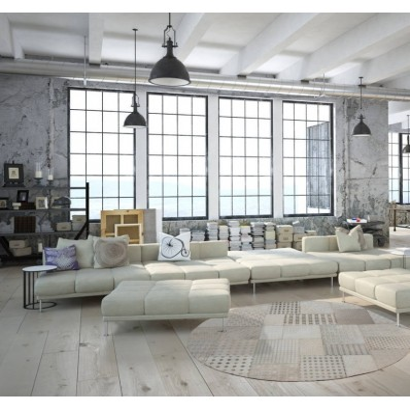 tappeto moderno vintage rotondo gleam 560 bianco
