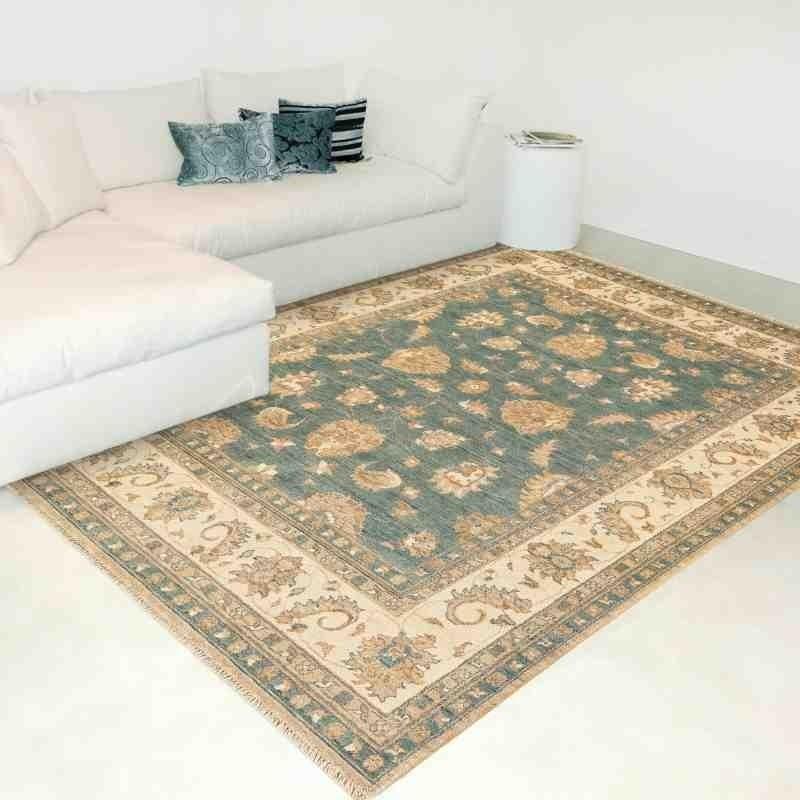 tappeto classico floreale Chobi cb04 azzurro lana