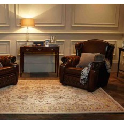 Carpet classico floreale Agra Twist Beige beige lana