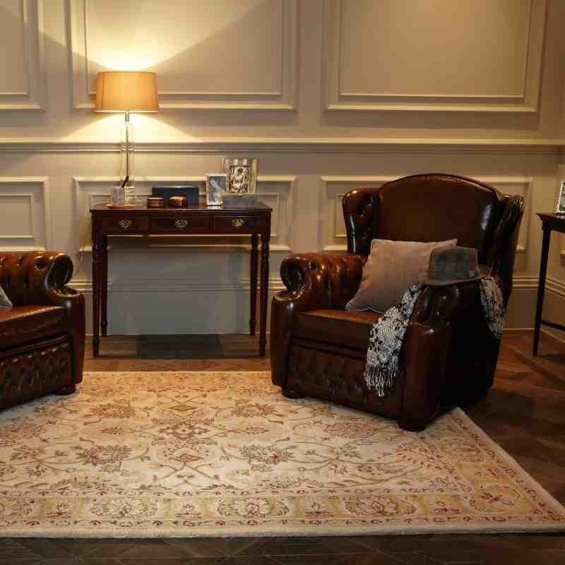 tappeto classico floreale Agra Twist Beige beige lana