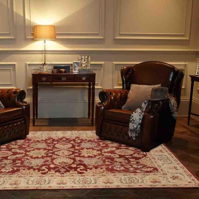 tappeto classico floreale Agra Twist Red rosso lana
