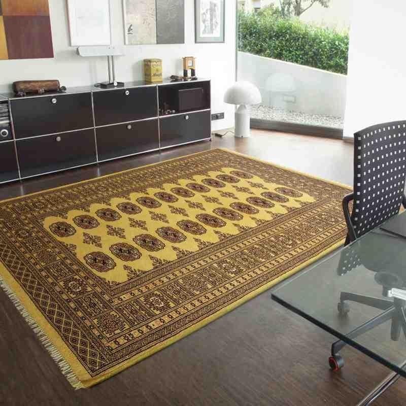 tappeto classico geometrico Bokhara Gold giallo setoso