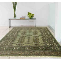 Carpet classico geometrico Bokhara Green verde setoso