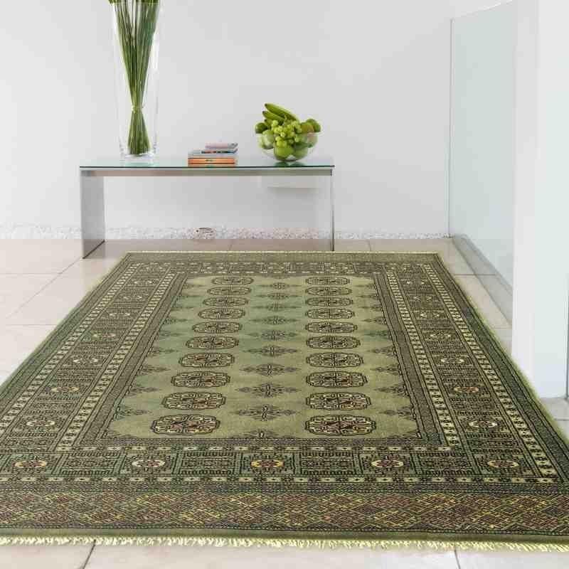 tappeto classico geometrico Bokhara Green verde setoso