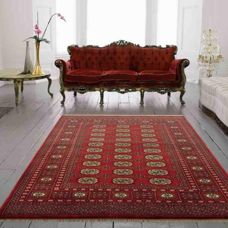 tappeto classico geometrico Bokhara Red rosso setoso