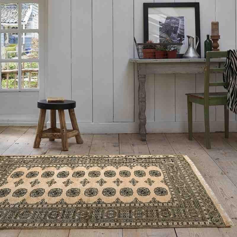 tappeto classico geometrico Bokhara Beige beige setoso