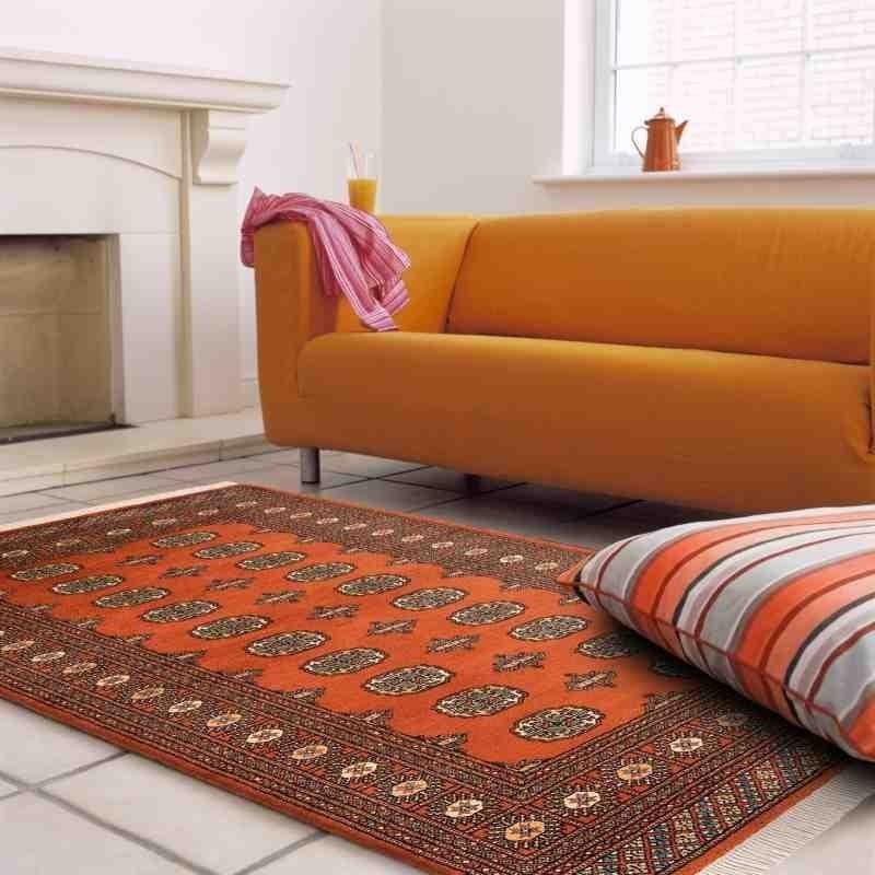 tappeto classico geometrico Bokhara Rust arancione setoso