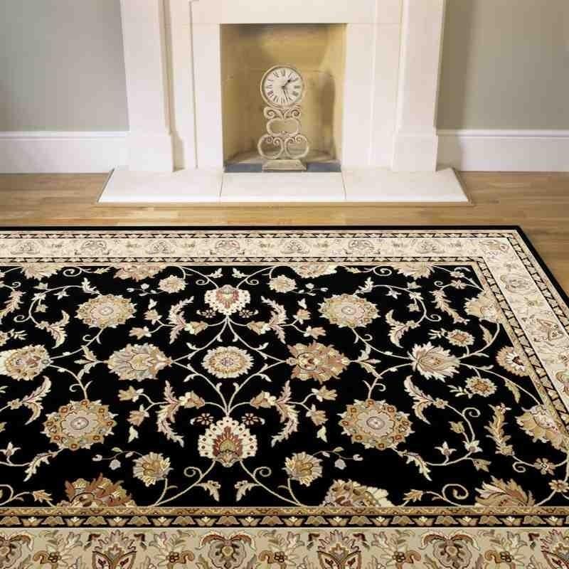 tappeto classico floreale Viscount V51 nero