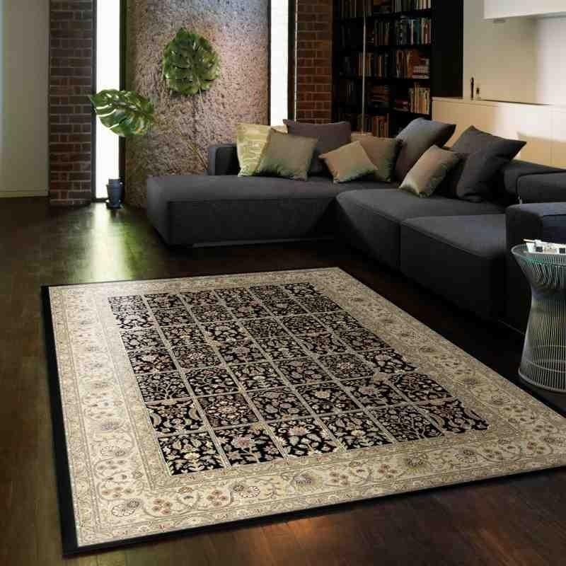 tappeto classico floreale Viscount V59 nero